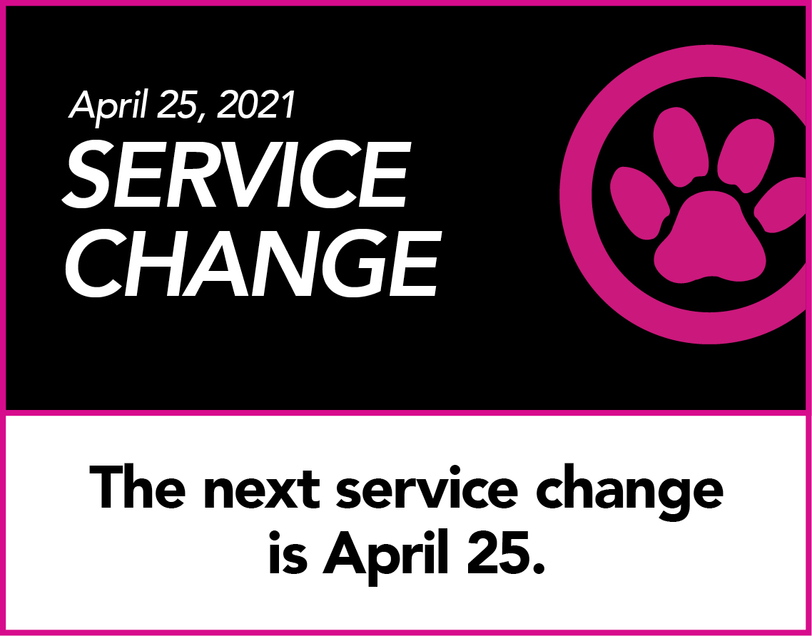 April Service Change in black, white and pink logo