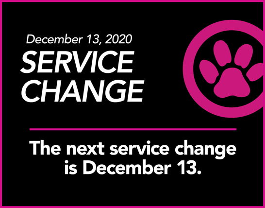 LYNX logo. The next service change is December 13.