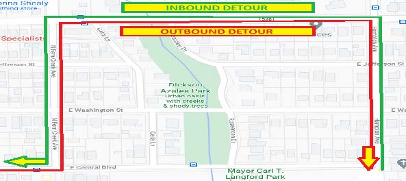 map of inbound and outbound detour for Link 313